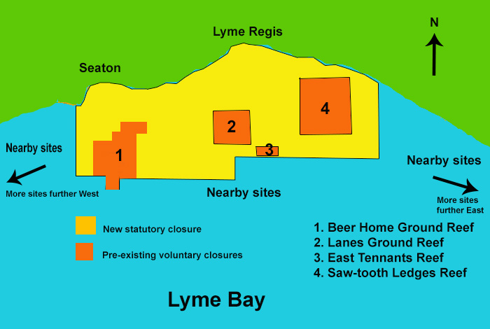 Diagram showing the location of the three different 'treatments', 1. the New Statutory Closure, 2. the Pre-existing Voluntary Closures and 3. the still-fished Nearby Sites.