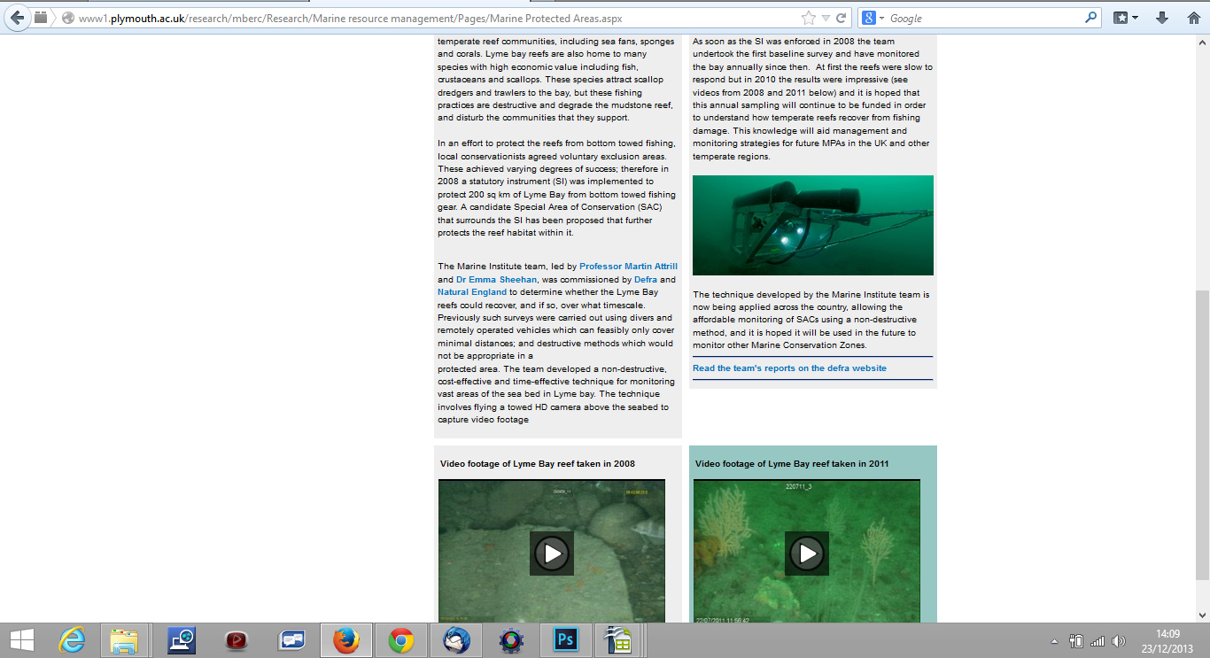 Plymouth University Marine Biology and Ecology Research Centre's Marine Protected Areas web page.