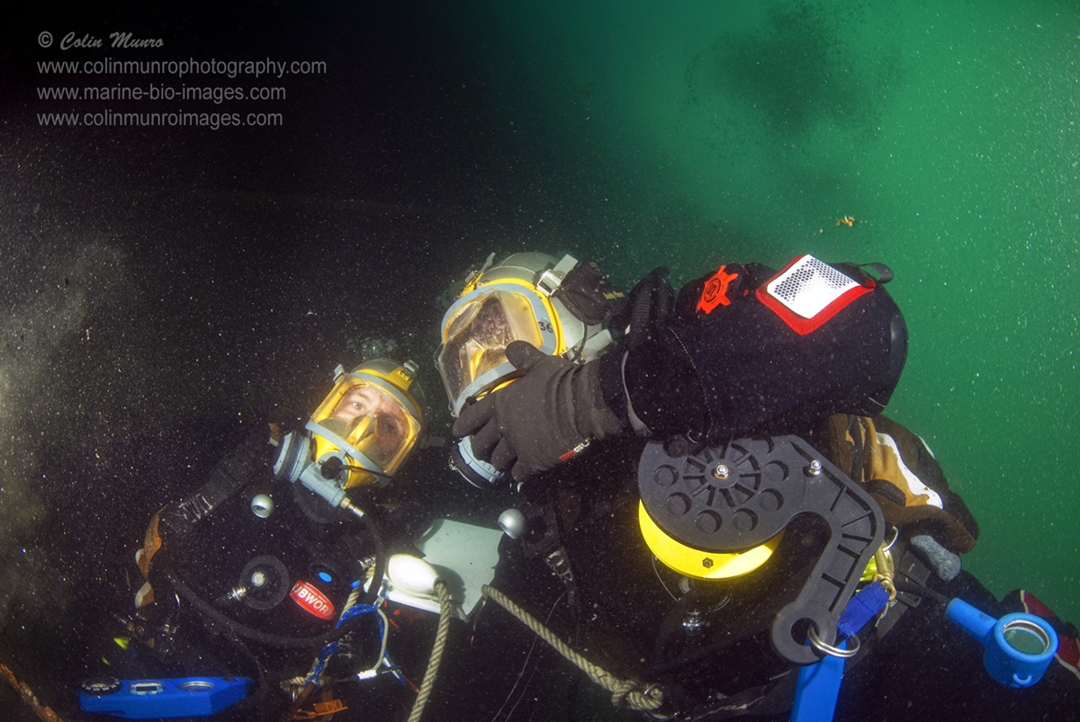 Two scientific divers wearing full face Aga masks communicate underwater. @Colin Munro Photography @Marine-Bio-Images